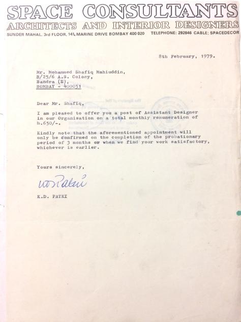 Mrs. Kiran Dhillon Patki,Space Consultants appointment letter to Md.Shafiq Mohiuddin_arture.co.JPG