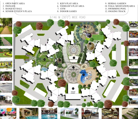 PROPOSED LANDSCAPE LAYOUT PLAN FOR A RESIDENTIAL TOWNSHIP IN OSHIWARA, ANDHERI (W), MUMBAI.   ALTERNATIVE - 5. WITH ALL THE INTERESTING FEATURES.