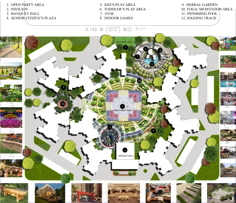 PROPOSED CONCEPTUAL LANDSCAPE LAYOUT PLAN FOR A RESIDENTIAL TOWNSHIP IN OSHIWARA, ANDHERI (W), MUMBAI.   ALTERNATIVE - 6. WITH ALL THE INTERESTING FEATURES.