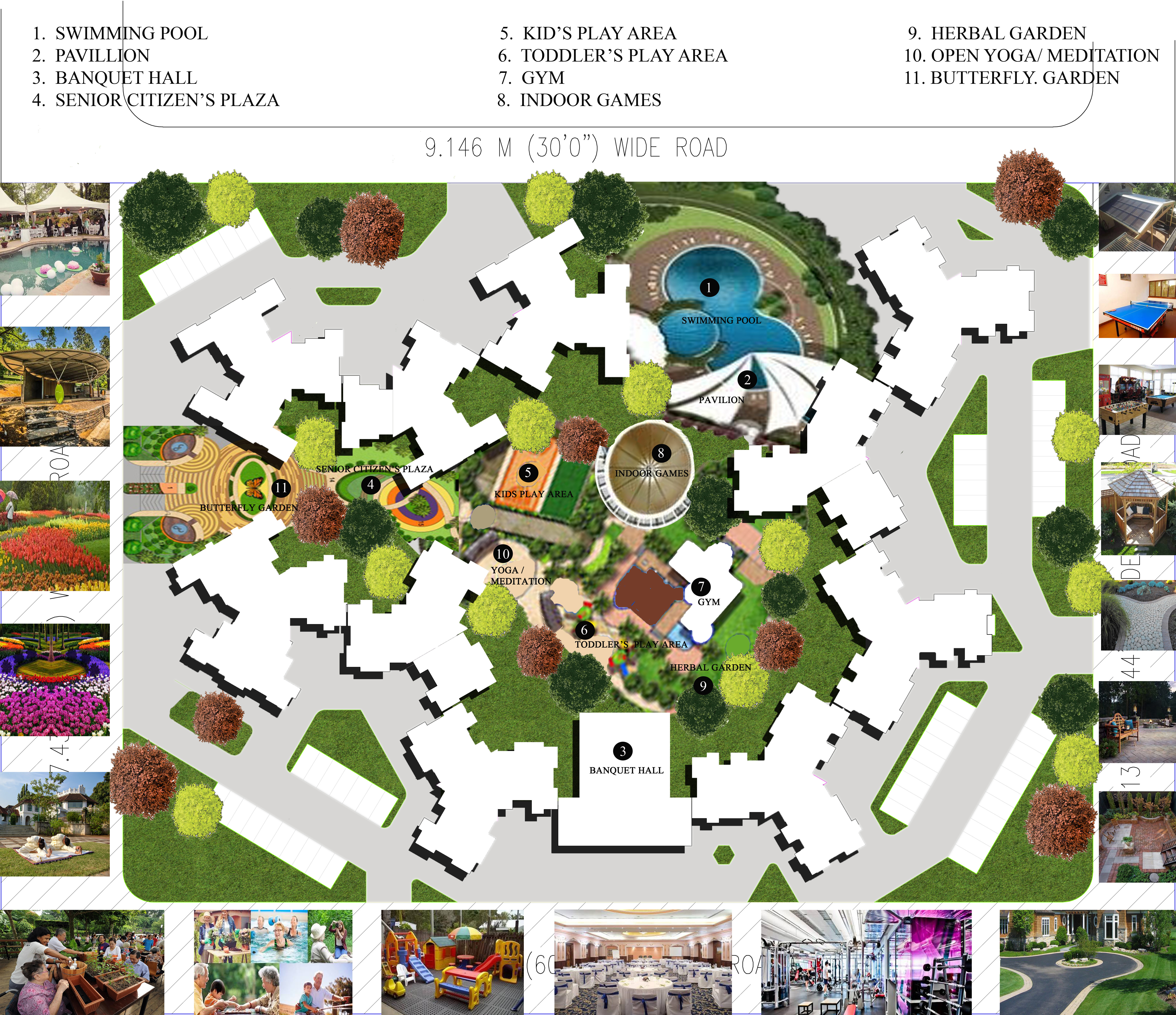 PROPOSED CONCEPTUAL LANDSCAPE LAYOUT PLAN FOR A RESIDENTIAL TOWNSHIP IN OSHIWARA, ANDHERI (W), MUMBAI.   ALTERNATIVE - 7 . WITH ALL THE INTERESTING LANDSCAPE FEATURES WITH FINISHES.