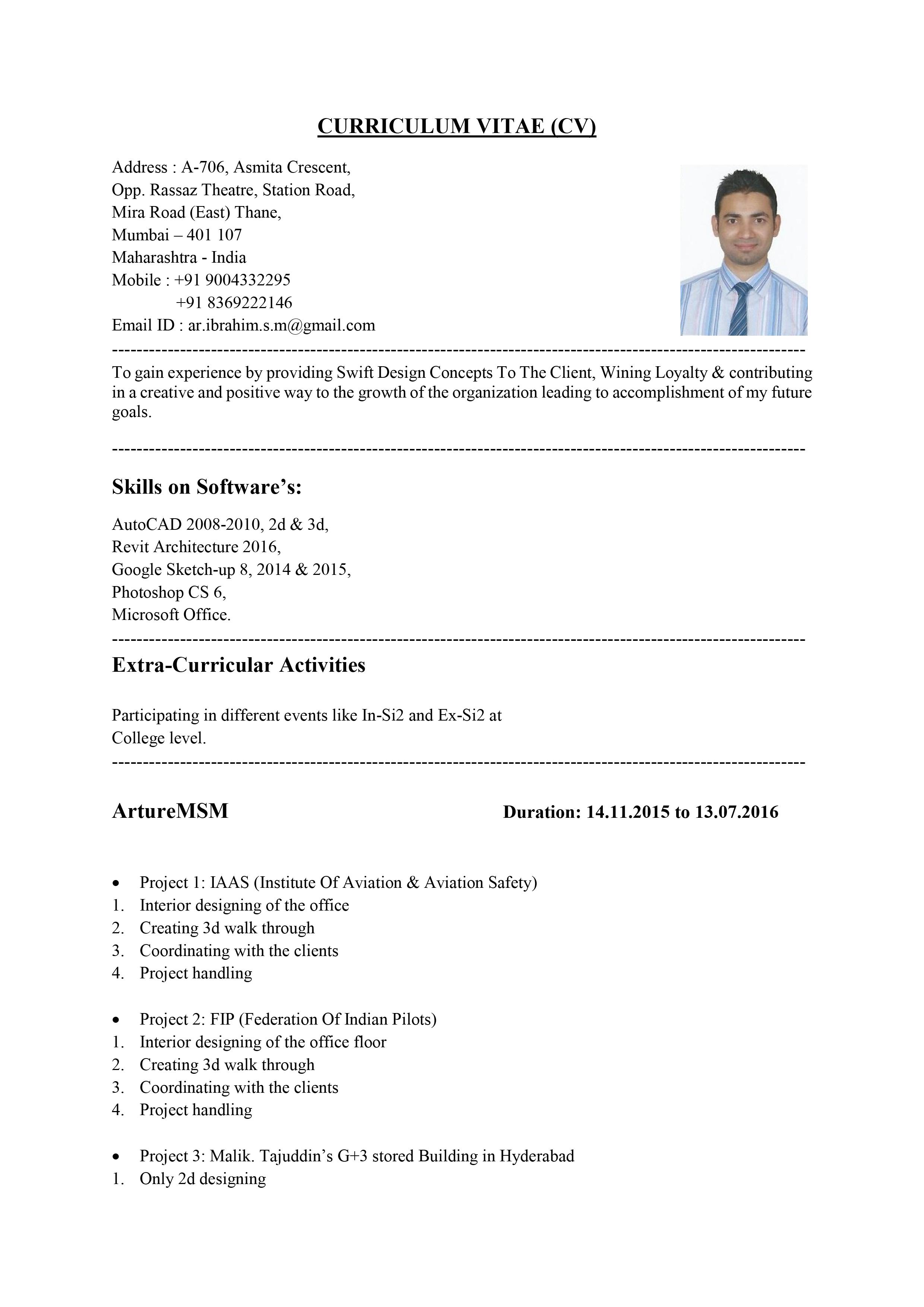CV of Ar. Md. Ibrahim Mohiuddin pg 1