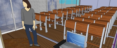 3D OF MULTI-PURPOSE LECTURE HALL FROM THE LECTURE HALL TOWARDS GLASS PARTITIONS ALONG CORRIDORS