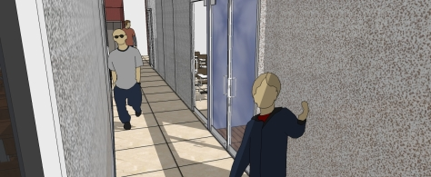 3D VIEW OF CORRIDORS TO LECTURE HALLS