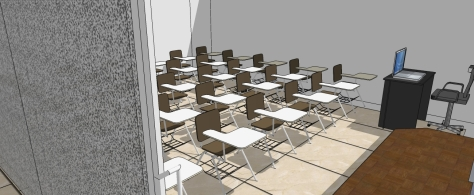 3D OF MULTI-PURPOSE LECTURE HALL FROM THE LECTURER'S PLATFORM TOWARDS THE STUDENTS DESKS
