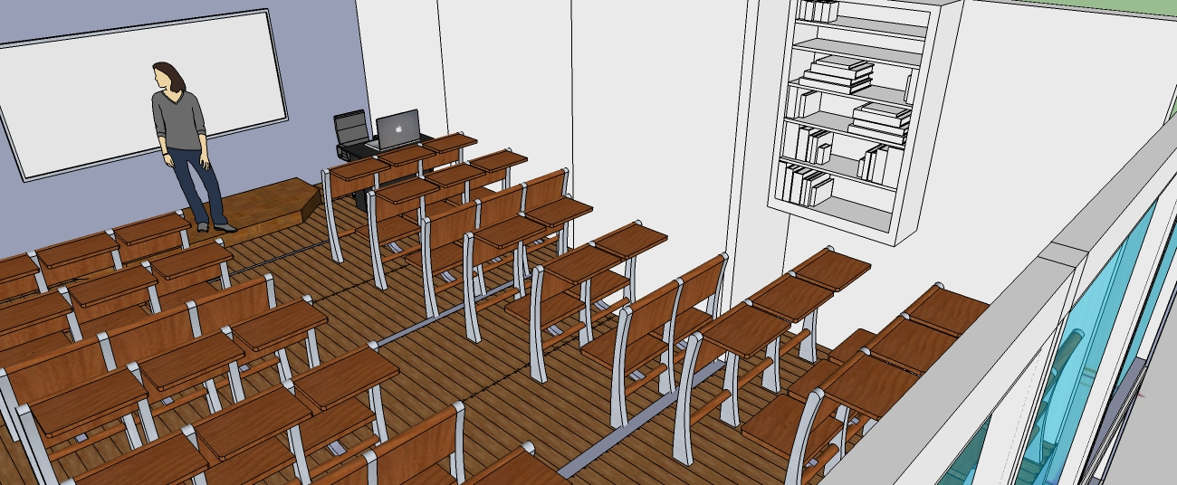3D OF MULTI-PURPOSE LECTURE HALL FROM THE STUDENTS DESKS  TOWARDS  THE LECTURER'S PLATFORM