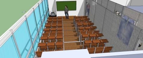 3D OF MULTI-PURPOSE LECTURE HALL FROM THE STUDENTS DESKS  TOWARDS  THE LECTURER'S / WRITING BOARD & PLATFORM