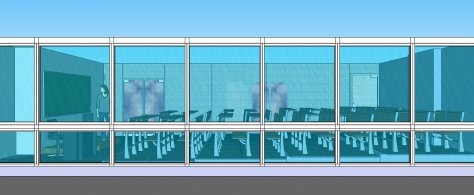 3D OF MULTI-PURPOSE LECTURE HALL FROM THE CORRIDOR  TOWARDS  THE LECTURE HALL